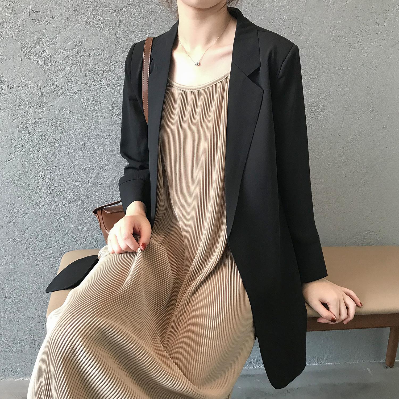 おすすめカジュアル折襟ファッション無地九分袖スーツ - shoppingmajor